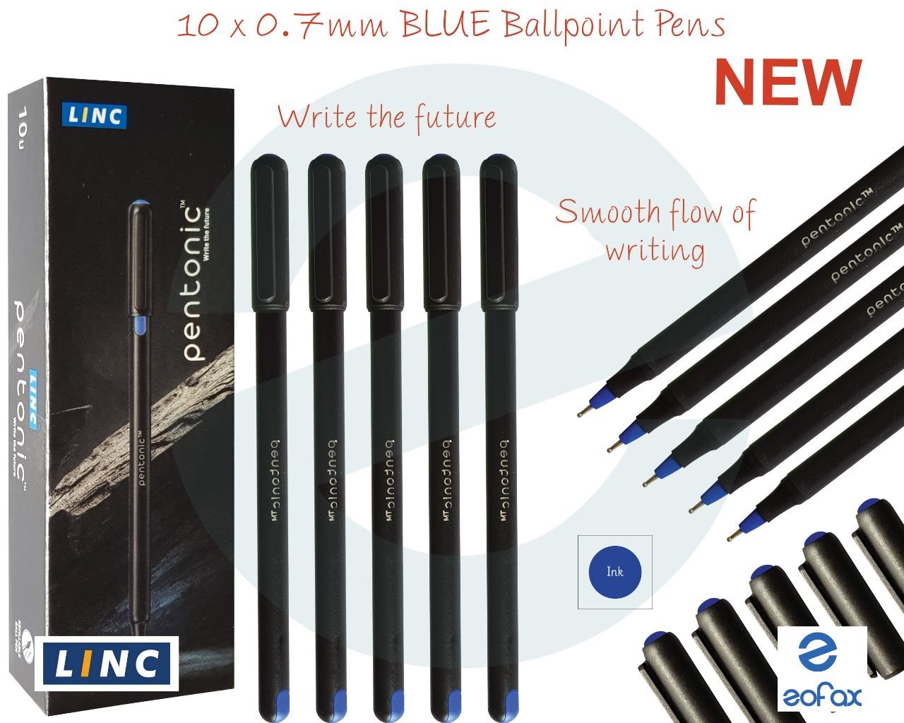5 x 0.7mm Fine Tip LINC Meeting BLUE Ballpoint Smooth Stylish Pens Easy Grip