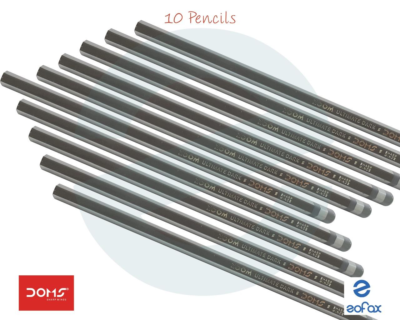 10 Pencils DOMS Zoom Ultimate Dark Triangle Pencils Free 1 Eraser /& Sharpener